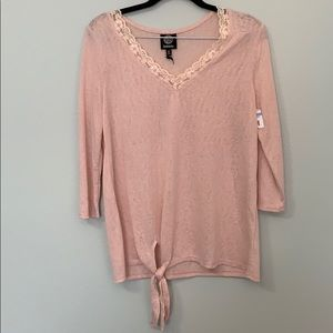 New Bobeau Front Tie Burnout Knit Top XS